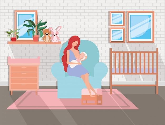 リビングルームで生まれたばかりの赤ちゃんを持つかわいい母親