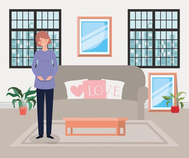 リビングルームのシーンで美しい女性の妊娠