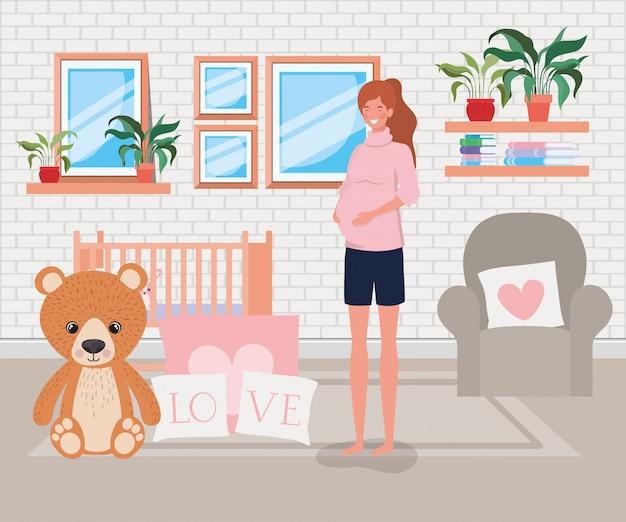 赤ちゃんの寝室のシーンで美しい女性の妊娠