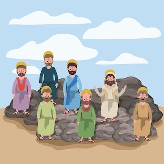岩の上に座っている使徒たちと一緒に砂漠での情景