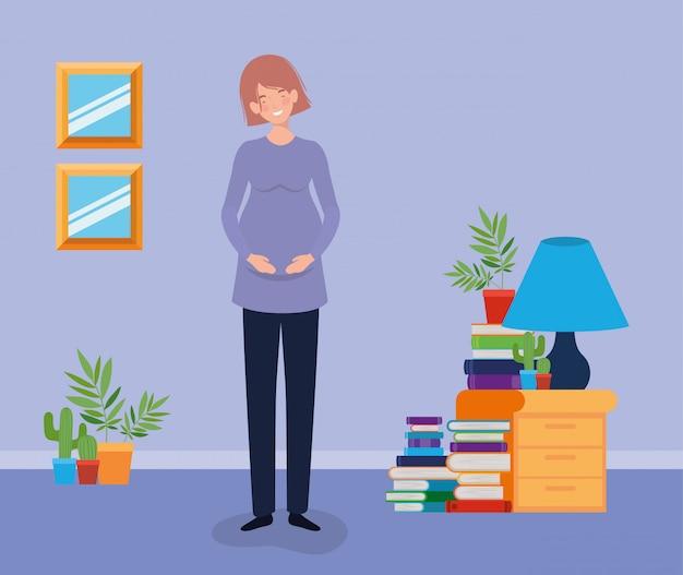 家の場所のシーンで妊娠中の女性
