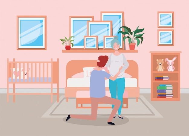 寝室のシーンで妊娠カップル