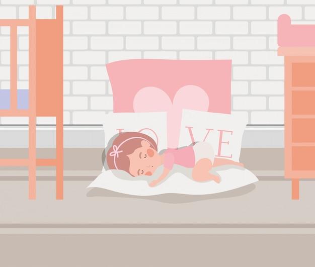 小さな女の赤ちゃん眠っている文字