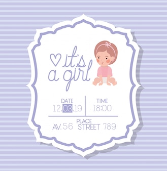 小さな子供とその女の子のベビーシャワーカード