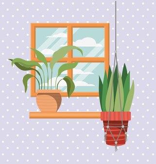 窓のシーンと棚の観葉植物