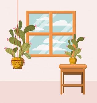 窓付きマクラメハンガーの観葉植物