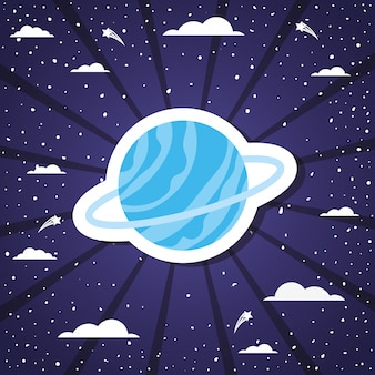 サンバーストベクトルイラスト上の宇宙の惑星