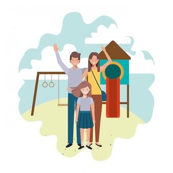 公園の遊び場のアバター文字で家族