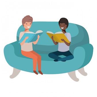 本のアバターのキャラクターとソファに座っている男性