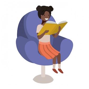 ソファのアバター文字で本を読む女