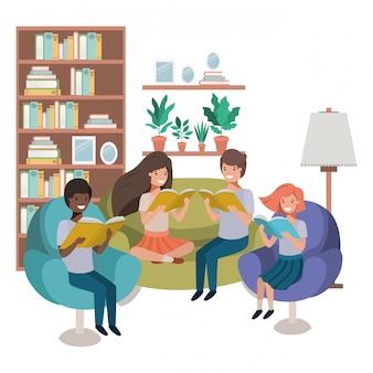 リビングルームのアバター文字で本を持つ人々のグループ