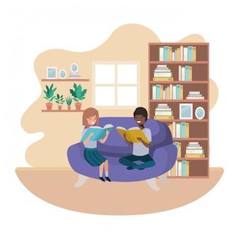 リビングルームのアバター文字で本を持つ子供たちのカップル