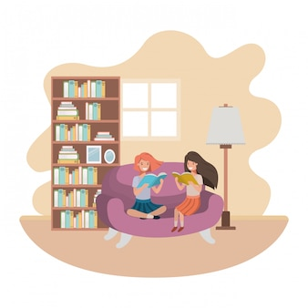 リビングルームのアバター文字で本を持つ女性