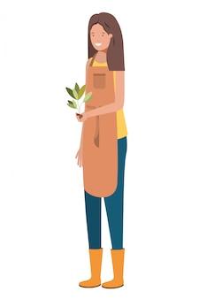 Молодая женщина-садовник с растительным персонажем
