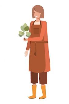 植物アバター文字を持つ若い女性庭師