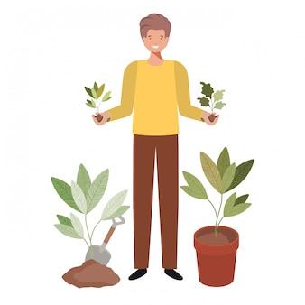 植物のアバター文字を持つ若者