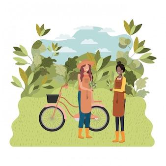 風景と自転車の女性庭師