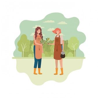 Женщины-садовники с пейзажным аватарным характером