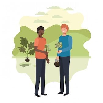 Мужчины садовники с пейзажным аватаром