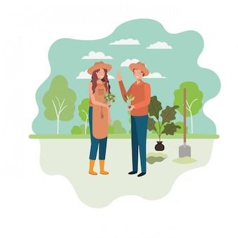 Пара садоводов с пейзажным аватаром