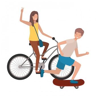 若いカップルのスポーツのアバターキャラクターの練習