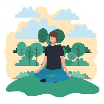 公園に座っている若い男
