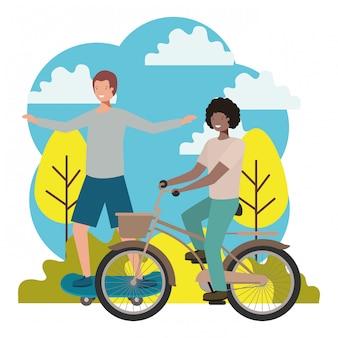 Юные подростки практикующие спортивные персонажи
