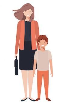 母と息子のアバターキャラクター