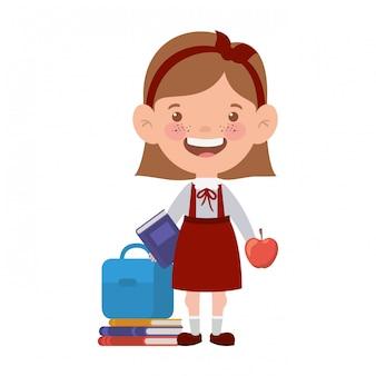 学用品を持つ学生の女の子