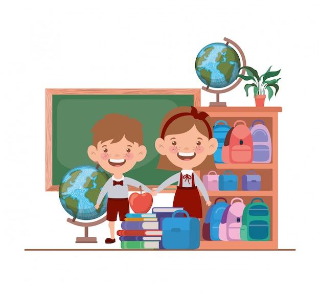 教室で学用品を持つ学生のカップル