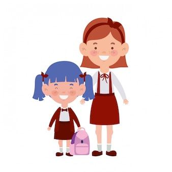 笑顔に立っている学生の女の子