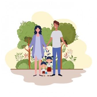 風景の中の子供を持つ親のカップル