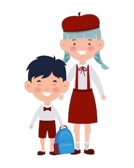笑顔に立っているカップルの学生