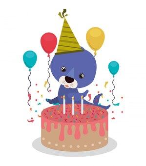 シール付きの誕生日のお祝いのカード