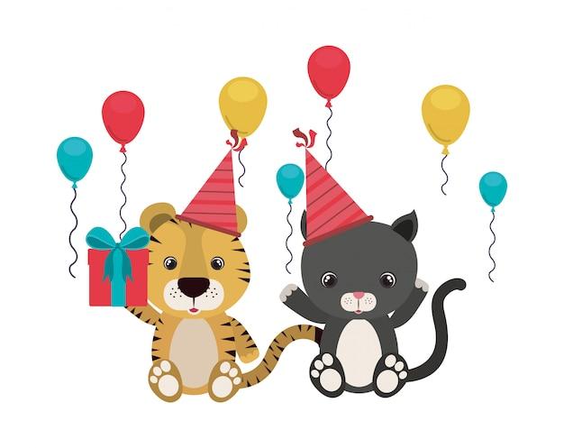 Карта празднования дня рождения с животными