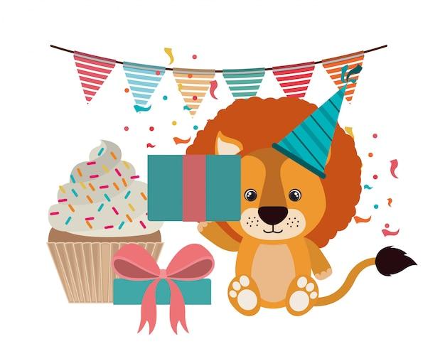 誕生日パーティーの帽子とかわいいライオン