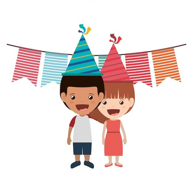 誕生日のお祝いの子供のカップル