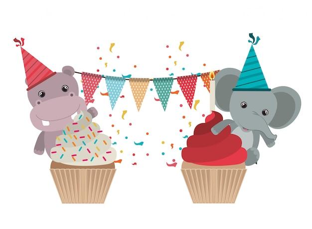 動物とお祝いのカード