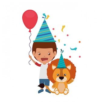 Мальчик со львом в день рождения