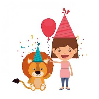 誕生日のお祝いにライオンを持つ少女