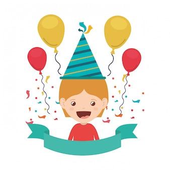 誕生日のお祝いにパーティーハットを持つ少年
