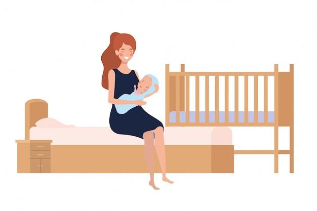 ベッドで生まれたばかりの赤ちゃんを持つ若い女性