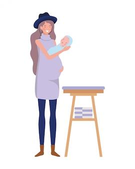 おむつの変更で生まれたばかりの赤ちゃんを持つ女性
