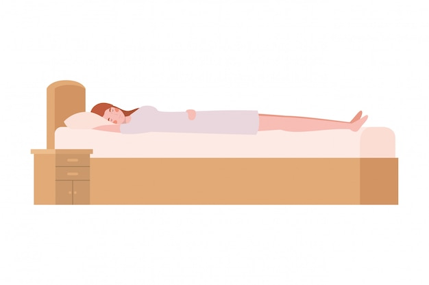 Молодая женщина в постели с позой сна