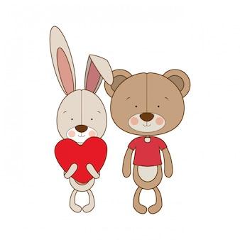 愛のクマのかわいいカップル
