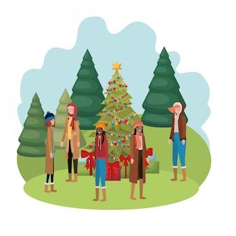 クリスマスツリーとギフトのアバターを持つ女性