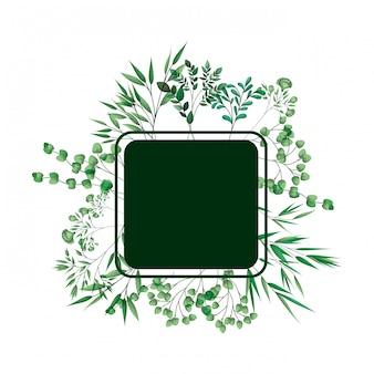 枝と葉と緑のフレーム