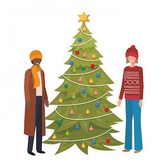 カップルはクリスマスツリーのアバターのキャラクター