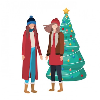 クリスマスツリーのアバターキャラクターを持つ女性