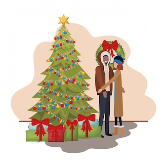 カップルはクリスマスツリーとギフト